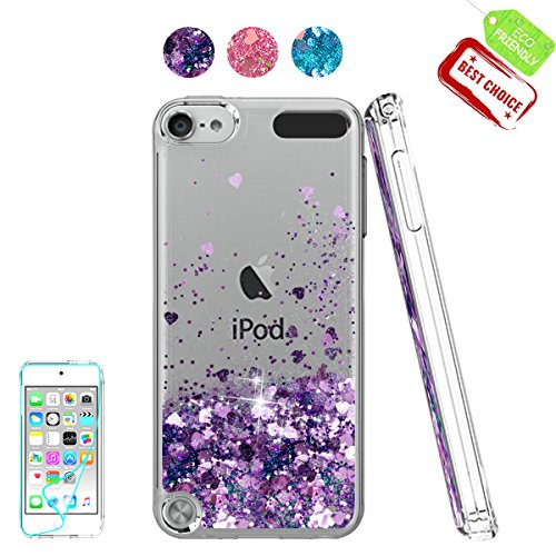 iPod Touch 6 Fall, iPod Touch 5 Fall mit HD Displayschutzfolie für Mädchen, atump [Love Herz Serie] Liquid Glitter Bling TPU Transparent Phone Cover für Apple iPod Touch 6./5. Generation, violett