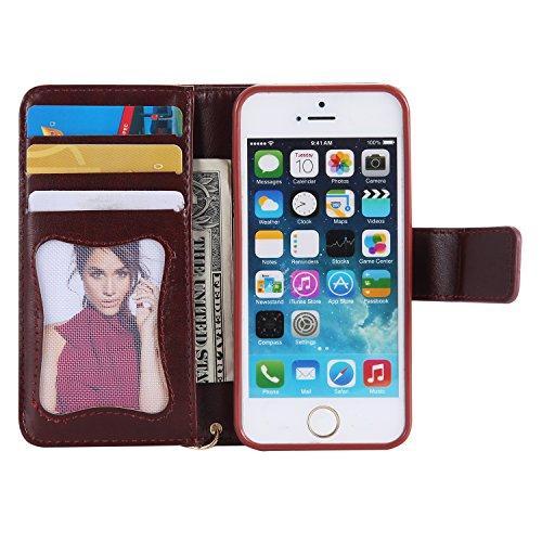 Cover iPhone 7 Plus, Custodia iPhone 7 Plus, Leweiany iPhone 7 Plus Custodia a Portafoglio Wallet / Libro in pelle Cover Elegante e di Alta Qualità Ragazza di Fiori della Gatto Luminoso Bling Strass G Marrone