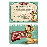 Einladungen zum Geburtstag (30 Stück) Pin Up Girl Retro Vintage Einladungskarten