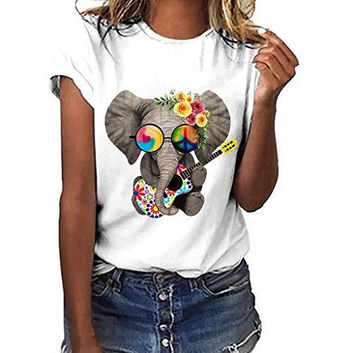 Explosión Estampado De Elefante Manga Corta Camiseta de Mujer Ocio Suelto Cómodo Mujer Cuello Redondo Tops Jerséis Blusa Dama Sudaderas Verano Dama Fitness Running Yoga Tank Top MEIbax