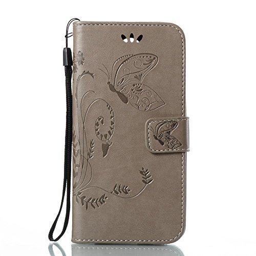 Solid Color Faux Leder Bookstyle Brieftasche Stand Case mit geprägten Blumen & Lanyard & Card Slots für LG K8 2017 European Edition ( Color : Coffee ) Gray