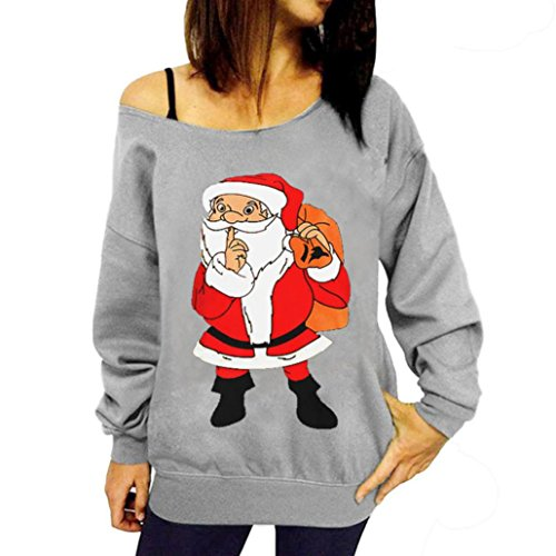 Rentier Tanz Kostüm - Damen Weihnachten Rentier Drucken Shirt, Lenfesh Xmas Schulterfreies Kostüm Minikleid Tops (Grau 2, L)