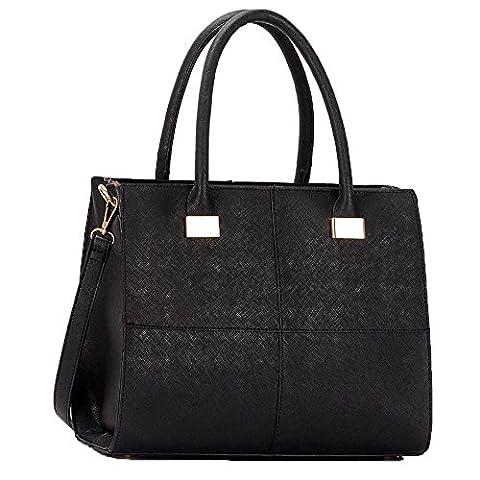 Trendstar Women Handbags Ladies Bags Shoulder Bag Design Faux Leather 3 Compartment Tote New Celebrity Style Large (C - Black)
