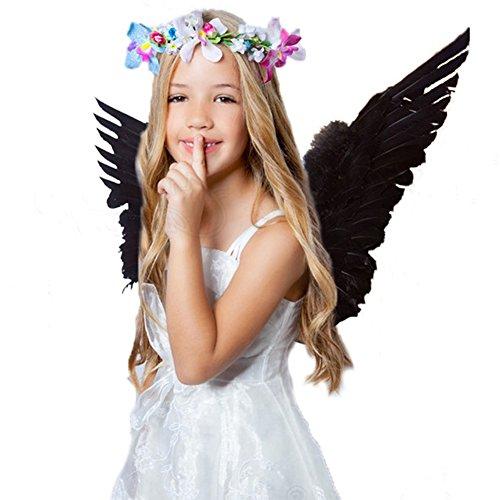 Engelsflügel Kostüm aus Federn Engel Flügel für Halloween Karneval Cosplay Fasching (Kinder, Schwarz)
