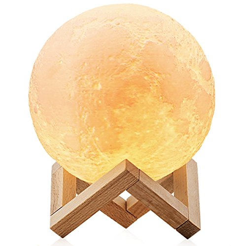 Lampara de luna LED 3D Moon Lamp - Recargable por USB 15cm, 3 colores, Lamparas infantiles (niña/niño/bebe) de mesa quitamiedos nocturna, Regalo perfecto para el salon, escritorio de habitacion, baño o cocina - ChillHil