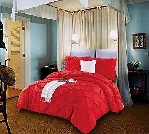 AMEHA Elegantes superweiches Bettbezug-Set mit 2 Kissenbezügen, Doppel- und King-Size-Größe, Red Handmade, Super King - King-size-bett Einem Mikrofaser Beutel In Aus
