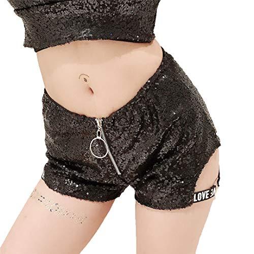 Weibliche Jockey Kostüm - Bordrtes Pailletten Hohe Taille Brief Shorts Ds Kostüme Lead Dance Bar Dj Nachtclub Weibliche Frau Shorts Black L