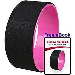 ResultSport–Rueda de yoga con instrucciones eBook. Mejora la Flexibilidad, liberar tensión, estiramiento, Equilibrio Entrenamiento. Abrir el pecho, hombros, espalda y Caderas. Yoga–Posturas y ejercicios de Pilates Rosa rosa Talla:32cm Wheel