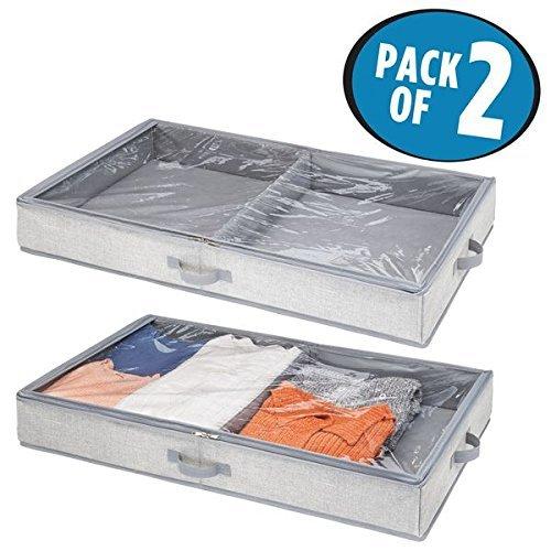 Foto de mDesign Organizador de zapatos y ropa para ubicar debajo de la cama - Guarda zapatos y ropa con 2 divisiones - Cajones bajo cama con tapa transparente y cierre con cremallera - gris - Paquete de 2
