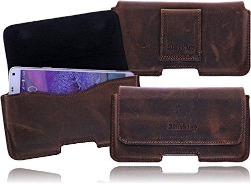 Burkley Exklusive Slim Line Leder Gürteltasche Quertasche für das Sony Xperia Miro (ST23i) mit Gürtel Schlaufe und Magnetverschluss in rustik braun / antic brown