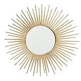 CasaJame Arredamento Decorazione Casa Specchio da Appendere alla Parete a Forma di Sole Stile Etnico Moderno Ferro Oro Ø 75 cm