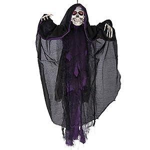 Carnival Toys - Esqueleto para colgar, sonoro, movible y con ojos luminosos, 75 cm, color negro (8525)