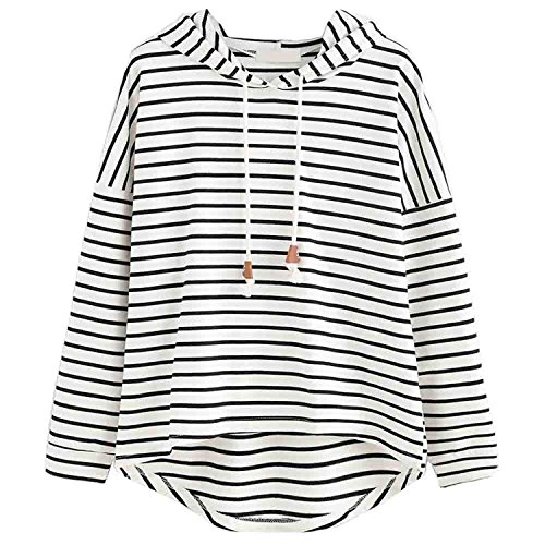 BIGHUB White , Large : Mingfa Hooded Jumpers for Women Loose Casual Stripe Long Sleeve Sweatshirt Pullover Tops Blouse