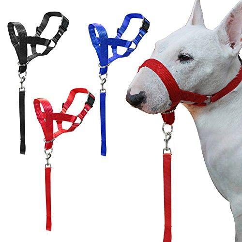 LA VIE Bozal de Entrenamiento Ajustable para Mascota Perro Bozal de Nylon Seguridad Cómodo Dog Muzzel Multi-tamaño Ofrece un Placa de Identificación para Mascotas Bozal L Roja