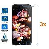 Electrónica Rey 3X Protector de Pantalla para ASUS ZENFONE 4 Selfie Pro ZD552KL, Cristal Vidrio Templado Premium