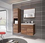 Badezimmer Badmöbel Montreal 60 cm Waschbecken Walnuss - Unterschrank Hochschrank Waschtisch Möbel