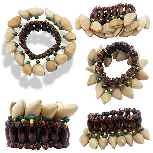 SODIAL Handgemachte Nuesse Shell Armband Handbell fuer Djembe Afrika Drum Conga Percussion Zubehoer