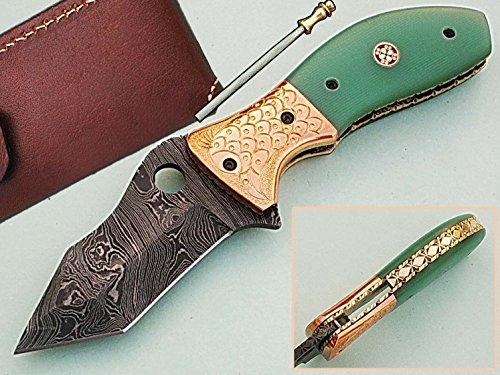 faite à la main 18 cm Awesome couteau de poche pliant des véritables Acier de Damas avec manche G10 Matière Mitres et gravée : (Bdm-82) (Legal au transport)