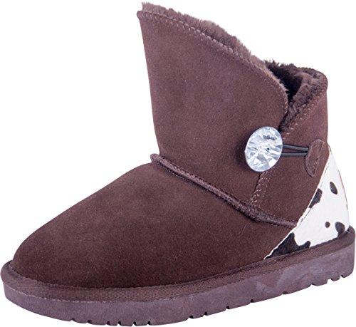 Almwerk Damen Winter-Stiefel Boots Kurzschaft aus Echtleder warm gefüttert mit Fell in braun und schwarz, Größe:38, Farbe:Braun