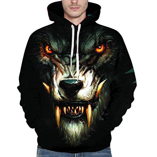 nisex Paar Liebhaber Kleidung 3D Gedruckter Wolf Pullover Schwarz Frühling Langärmeliges Hemd Sweatshirt Oberseiten Kapuzenpullis Reise Shirt IM Freien (3XL, Schwarz) (Baseball-fledermaus-kostüm)