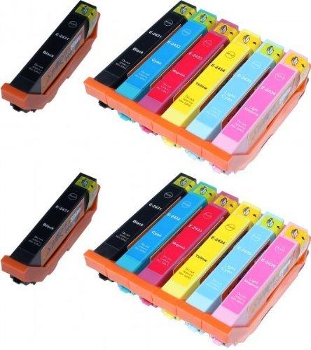 14 Cartouches d'encre compatibles avec Puce remplace Epson 24XL, T2431, T2432, T2433, T2434, T2435, T2436, T2438
