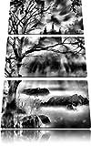 Monocrome, Düstere Burg 3-Teiler Leinwandbild 120x80 Bild auf Leinwand, XXL riesige Bilder fertig gerahmt mit Keilrahmen, Kunstdruck auf Wandbild mit Rahmen, gänstiger als Gemälde oder Ölbild, kein Poster oder Plakat