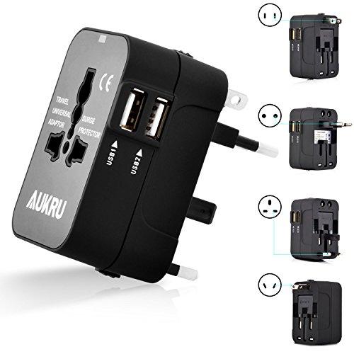 Aukru Cargador Universal de Viaje con 2 Puertos USB adaptador Internacional para USA / EU / UK / AUS Aprox 180 Países - Negro