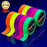Neon Klebeband [10 Packungen] Neon Gaffa Tape, UV aktiv Tape, Fluoreszierendes, Leuchtband, 5 Farben, 15MM*5M Pro Rolle