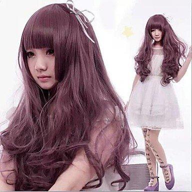 La peluca GY Pelucas de la manera moda largas pelucas onda púrpura de la mujer con plena explosión