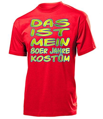 (80er Jahre Kostüm Herren T-Shirt Mottoparty Schlagerparty 790 Karneval Fasching Faschingskostüm Karnevalskostüm Paarkostüm Gruppenkostüm Rot XXL)
