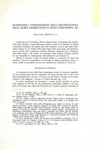 Schedario topografico dell'archeologia dell'agro fiorentino e zone limitrofe.
