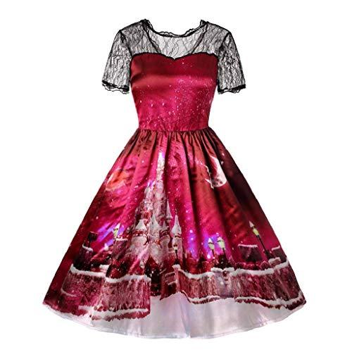 Damen Elegant Abendkleid Vintage Weihnachten Party Kleid Mesh Brautkleid Retro Gedruckt...