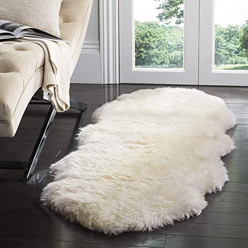 CUSHION Zottelig Rein Natürlich Schaffell Sofa Abdeckung Sitzpolster Super Weich Gemütlich Sessel Werfen Wolle Polster Plüsch Matten,70x220cm(28x87inch) -