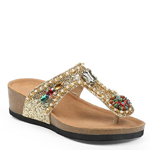 Ideal-Shoes Nu-piedi con paillette e legno incrostato Andrienne strass Oro (Oro)