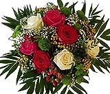 Blumenstrauß zum Verschenken PERFEKT zum Thema LIEBE | Rosen rot Rosen weiß mit XXL BLÜTEN |