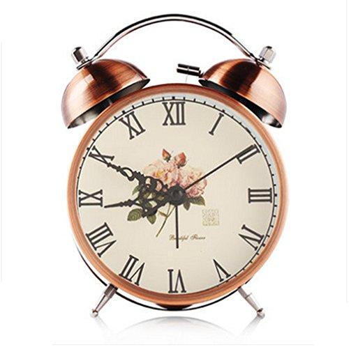 ZHGI Bronzo doppia campana sveglia, comodino luminescenti in metallo piccolo allarme, sveglia muto di europeo-stile decorazione domestica,A