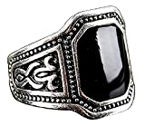 Inception Pro Infinite Anillo de Piedra con Incrustaciones Negro para Hombres - Idea de Regalo (ES 19)