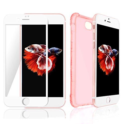 coque-iphone-7-rose-transparent-protecteur-decran-bord-blanc-meilleure-360-protection-invisible-pour