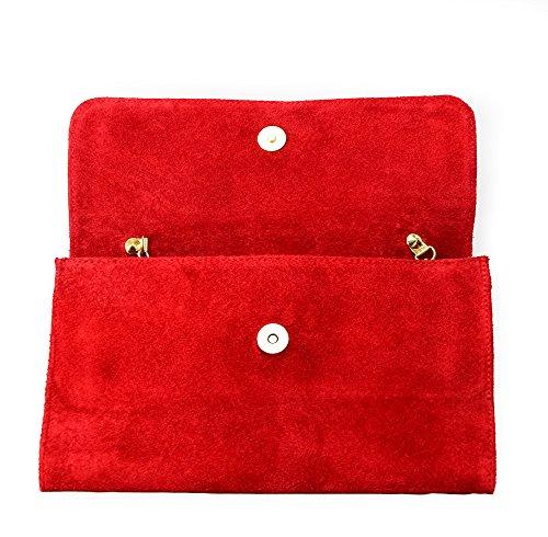 Pochette da donna in vera pelle scamosciata italiana, con catena d'oro, ideale per feste di nozze o da sera Red