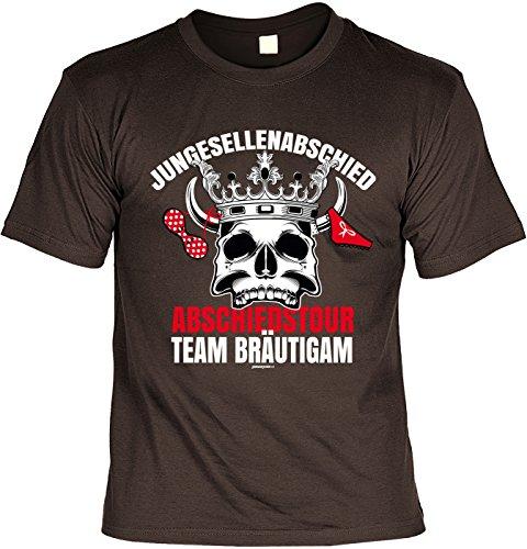 Fun T-Shirt zum Junggesellenabschied: Abschiedstour Team Bräutigam - JGA - Gruppenshirt - navyblau Braun
