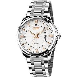 cakcity Herren Wasserdicht Business Casual Silber Stahl Quarz Kleid Armbanduhr mit roségoldenem Pointer