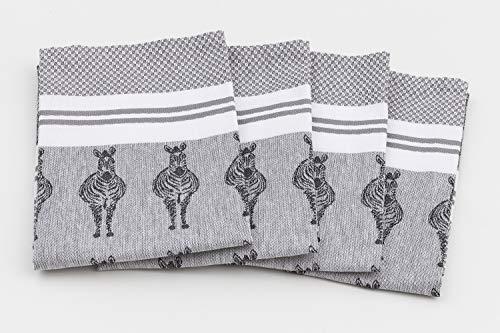 myHomery Geschirrhandtücher mit modernen Motiven im praktischen 4er Set aus 100% Baumwolle Zebra - Grau | 4er-Set - 50 x 70 cm Grau Zebra