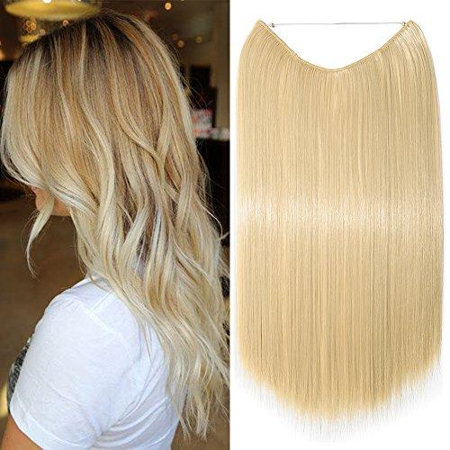 Extension per capelli lunghi lisci pezzo unico con filo trasparente 60cm - one piece hair extensions 3/4 full head, biondo chiarissimo