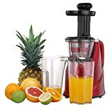 VonShef Professional Slow Fruit Vegetable Masticating Juicer Machine with Quiet 200W Motor for Highly Efficient Juice Extraction - Red