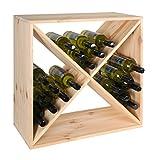Weinregal / Flaschenregal System X-60 für 44 Fl., Holz Kiefer natur, stapelbar / erweiterbar - H 60 x B 60 x T 30 cm