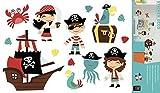Décorations murales adhésives 48*68 Enfant Pirate, Polyvinyle, Multicolore, 48 x 0.1 x 68 cm...