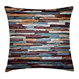 Kotdeqay Wall Throw Pillow Cushion Cover Abstract Background of Colored Stone Surface Retro Style Urban House Brick Design, Decorative Square Accent Pillow Case, 18 X18 inches, Mauve Teal Ivory