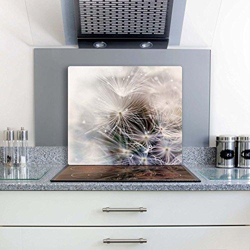 Gsmarkt | Herdabdeckplatte Schneidebrett Spritzschutz 60x52 | Bild auf Glas | Sicherheitsglas Gehärtetes Glas Bild | Motiv Pusteblume