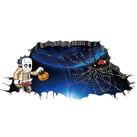 BoodTag 3D Happy Halloween Ménage Room Floor Wall Sticker Autocollant Mural Decal Décoration Amovible de Festival Scène Domicile (B)
