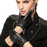 CWJ Frauen 'S Touchscreen Lederhandschuhe Kurze Klassische Mosaik Nieten Einfache Sytle 3 Farben,Schwarz,X-Large